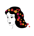 brunette girl with flowers vector image