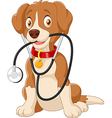 Cute dog sitting with stethoscope vector image vector image