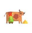 Girl Milking The Cow vector image