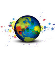 globe and ink splatter background vector image vector image