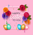 easter greeting card with colorful eggs pink vector image