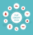 flat icons gumshoes lingerie waistcoat and other vector image