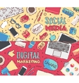 Flat work social media digital marketing vector image