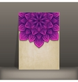 grunge paper card with purple floral circular vector image