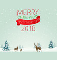merry christmas background with deer vector image