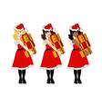 Santa Girl Blonde Brown Black Holding Presents vector image