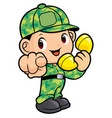 soldier character called to receive a call vector image