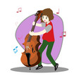 young boy playing double bass happy love music vector image