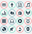multimedia icons set collection of earmuff lyre vector image