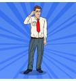 pop art businessman in eyeglasses vector image