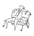man on chair vector image