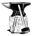 Blacksmith anvil on a stump with hummer and vector image