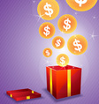 dollar floating from gift box vector image vector image