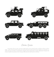 Black silhouette of military cars vector image