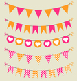 Bunting set pink and orange for scrapbook vector image