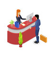 company reception stand isometric 3d icon vector image