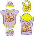Cute Baby Layette with cute bear in love - vector image