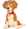 Cute dog sitting with tongue out vector image