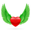 Heart with raised wings vector image