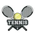 tennis sport rackets crossed ball emblem image vector image