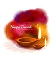 happy diwali colorful design with diya in vector image