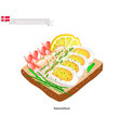Smorrebrod with shrimp the national dish of denm vector image