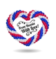 Heart from balloons in the colors of Russian flag vector image