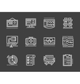 Cardiology white simple line design icons vector image
