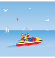 Family on a jet ski Family vacation vector image