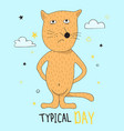 hand drawn funny red cat with hand drawn lettering vector image