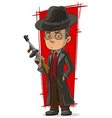 Cartoon mafiosi in black with gun vector image