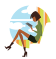 fashionable reading young woman looking in pad vector image