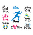 running man marathon logo jogging emblems label vector image