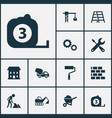 building icons set collection of cement vehicle vector image