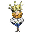 cartoon image of king with huge crown vector image