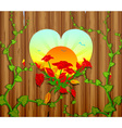 wooden fence with a carved heart and flowers vector image