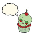 cartoon halloween cup cake with thought bubble vector image