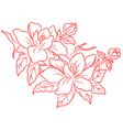 Flowers in chinese retro style vector image vector image
