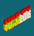 Happy New Year 2016 Pixel art 8 bit style vector image