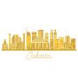 jakarta indonesia city skyline golden silhouette vector image