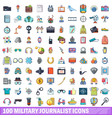 100 military journalist icons set cartoon style vector image