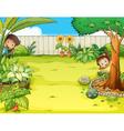A boy and a girl hiding in the garden vector image vector image