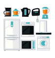 home kitchen cooking appliances flat icons vector image