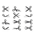 scissors with cut lines set of cutting scissors vector image
