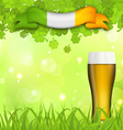 Glowing nature background with glass of beer vector image