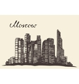 Moscow skyline engraved hand drawn sketch vector image