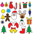 Christmas Drawing Ornament Color set vector image