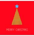Fir Christmas tree with star Scribble Christmas vector image