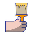 hand with brush tool to paint design vector image