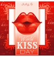 Sexy kissing woman lips with red lipstick on red vector image